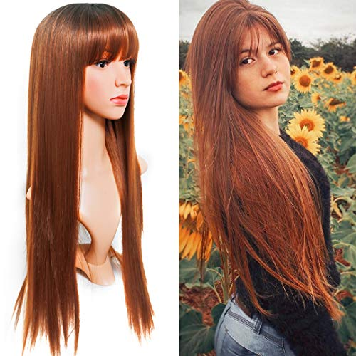 EVLYNN Brown Straight Wigs With Air Bangs Dark Rooted Ombre Red Blonde Hair Heat Resistant Synthetic Fiber Glueless Wig 26 Inches Long Full Machine Wigs