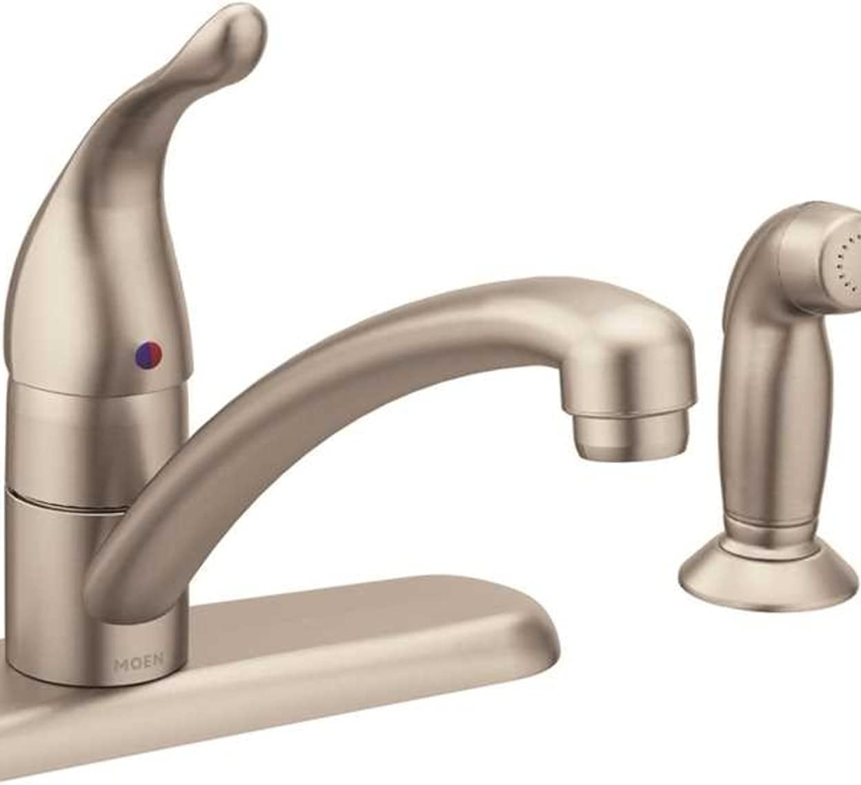 moen 7430srs chateau one handle low arc kitchen faucet with side sprayer spot resist stainless