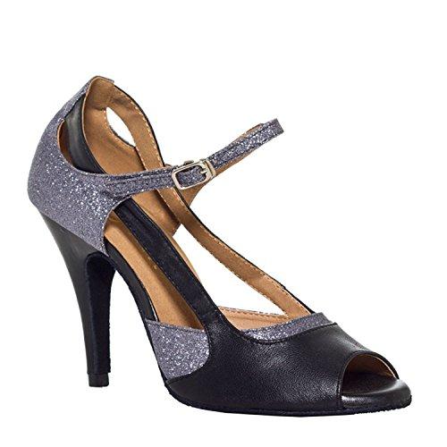 MINITOO TH003 Chaussures à talon bas pour femmes style tango - Gris - Gris/talon 8,5 cm., 40 EU