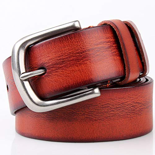 longhua Cintura da Uomo in Pelle di Vitello Strato Testa Testa Regalo da Uomo per San Valentino
