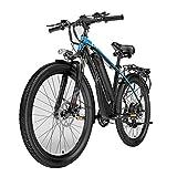 HLEZ Bicicletta Elettrica, Elettrica Bici da Montagna 48V 400W e Bike con Batteria al Litio da 21 velocità Adatta per Trekking, Bicicletta Elettrica per Città,Blu,UE
