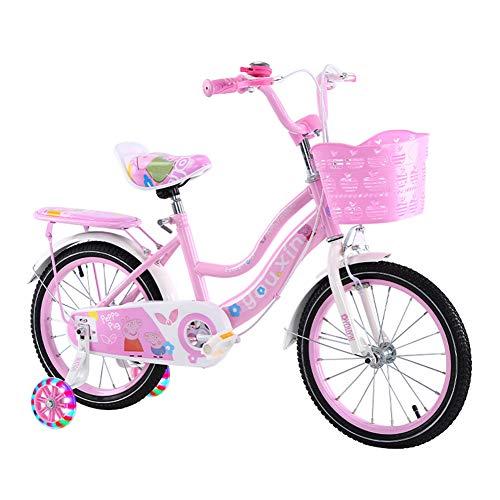 ZTIANR Bicicletas Niños, Bicicleta De Los Niños De Tamaño 14' 16' 18' con Estabilizadores Y Cesta, Rosa, Morado,Rosado,14 Inches
