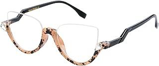Womens Modern Semi-rimless Cateye Clear Lens Eyeglasses Frame Reading Glasses