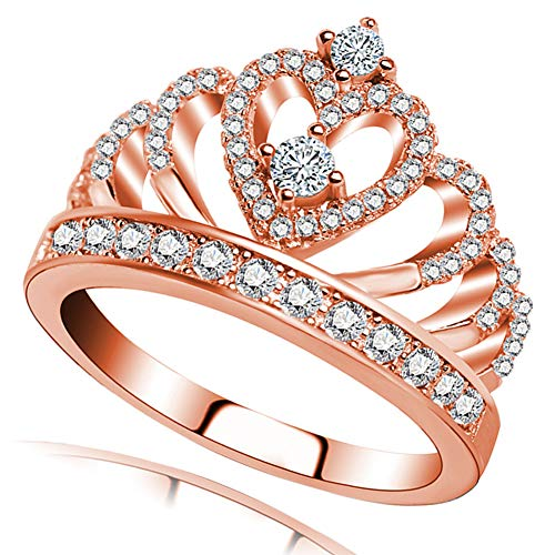 Princess Queen Crown Rings for Women Girl Eternity Heart-Shaped Promise Ring Zircon Jewelry Rose Gold Size 11