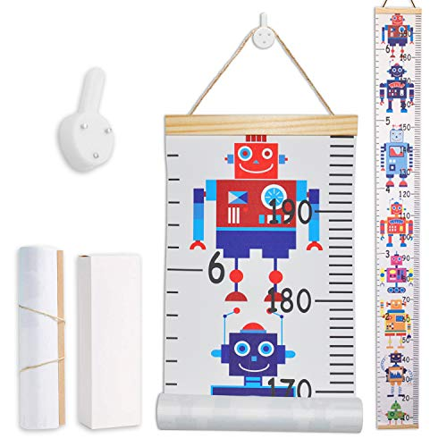 LATTCURE Messlatte Kinder, Größenmesser Kinder Baby Messlatte Holz Kinder Höhe Maßnahme Wachstumstabelle Wachstum Messlatte Dekorative MesslattenAufrollbare Aufhängen Messlatte