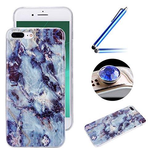 Etsue pour [ iPhone 7 Plus ] Doux Protecteur Coque,TPU Matériau Frame est Transparent Soft Cover pour iPhone 7 Plus,Marbre Motif par Dessin de Mode Case Coque pour iPhone 7 Plus + 1 x Bleu stylet + 1 x Bling poussière plug (couleurs aléatoires) - Bleu foncé