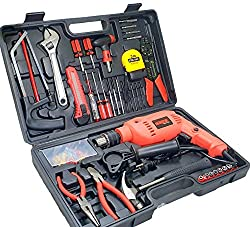 Cheston Powerful 13 mm Impact Drill Machine Kit Cum Screwdriver with 101 Pieces Tool Accessories; Red,Cheston