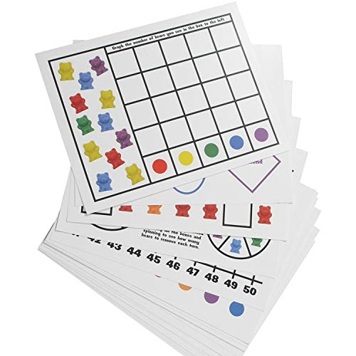 Legato Counting Bear Activity Sheets and eBook; 20 Large, Glossy Card Stock Sheets (each 8.5 x 11); Helps with Patterns, Graphing, Colors, and More! Use with any 1 bear manipulative with 6 colors.