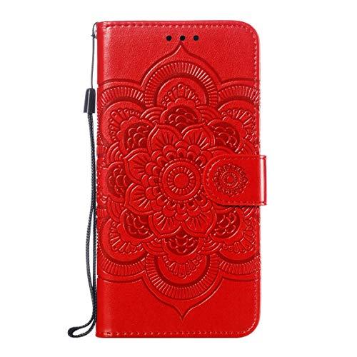 BINGRAN Honor 9X Pro Lederhülle, Mandala-Muster Prägung PU Leder Weich TPU Innen Standfunktion Karteneinschub & Magnetverschluß Schutzhülle Hülle für Huawei Honor 9X Pro -Rot