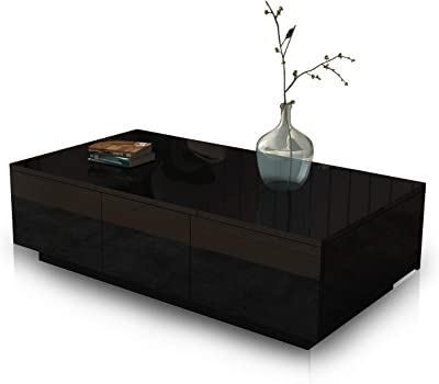 Coffee Table Cabinet Slide Top 2 Drawers Storage High Gloss Wood Living Room Modern Furniture Black