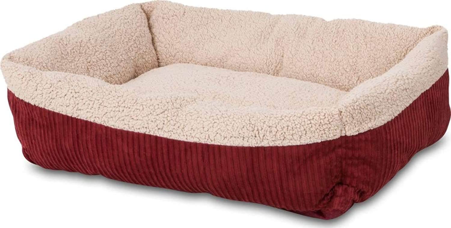 Aspen Pet 80137 Self Warming Rectangular Lounger for Pets, 30 by 24Inch, Warm Spice with Creme