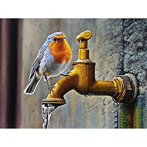 5D DIY pintura de diamante Kit completo taladro Pájaro animal adultos niños Cristal rhinestone Bordado punto de cruz Mosaico Artesanía para decoración de la pared del hogar Round Drill,50x70cm
