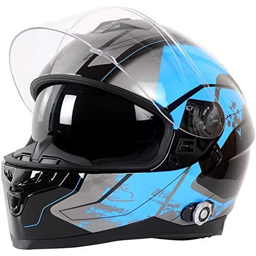Bluetooth Modulares Casco Moto,Casco de Motocicleta Bluetooth Integrado,con Intercomunicador Bluetooth Integrado,Impermeable,Radio FM,Dot/ECE Certificado XL=59~60cm