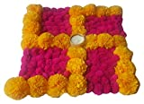 PRAHLL Swastik Rangoli of Artificial Marigold Flower and pompoms(12 inch , Pink & Yellow) Item Name (aka Title)