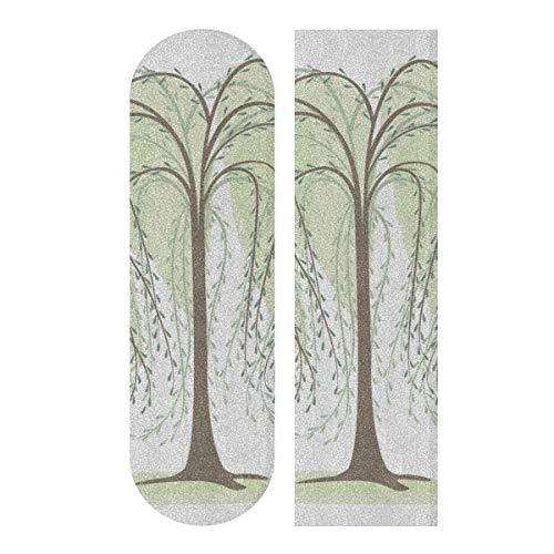 JEOLVP 33,1 x 9,1 Zoll Sport Outdoor Longboard Aufkleber Green Willow Soft Long Branches Print Wasserdichtes Skateboard Griffband für Mädchen für Tanzbrett Double Rocker Board Deck 1 Blatt