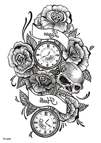 Reloj De Flores Brújula Mapa Negro 15X21cm-3Pcs Pegatinas De Tatuajes Temporales Pegatinas De Tatuaje Temporal De Brazo Completo Juego De Pegatinas De Arte Para Adultos Hombres Mujeres Niños Juego D