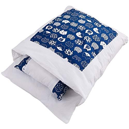 laamei Cama para gatos, saco de dormir cerrado para mascotas, nido, lavable, mullida, para invierno, con cojín (ancho azul, L 65 x 50 cm)