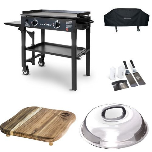 Blackstone 28 inch Outdoor Flat Top Gas Grill Griddle Station - 2-burner - Propane Fueled - Restaurant Grade - Professional Quality with Cover, Accessory Kit, Dome and Cutting Board