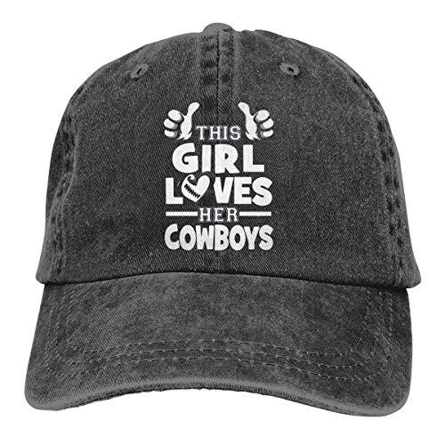 YYTY Dieses Mädchen liebt ihre Cowboys.jpg. Kappe Herren verstellbare Tour Baumwolle Denim Kappe für den Außenbereich
