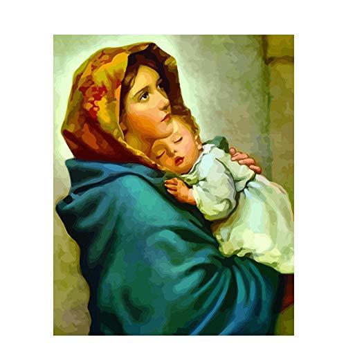YAXIANXU Pintura por Números Abrazo De La Virgen para Adultos Y Niños Principiante para , Se Puede Utilizar como Regalo Y Decoración del Hogar.40 X 50 Cm Sin Marco