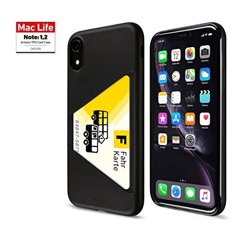 Artwizz TPU Card Beschermhoes voor iPhone XR - Beschermhoes met kaartsleuven voor Membro, ID, kaart - Achterkant mat en Display Frame Lucido - Ontworpen in Berlijn Duitsland, Kleur: zwart