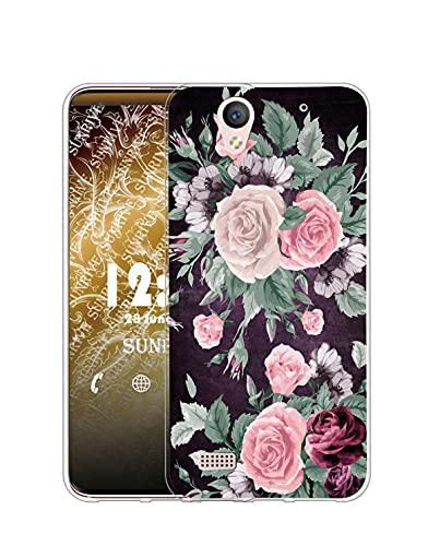 Sunrive Kompatibel mit Sony Xperia C4 Hülle Silikon, Transparent Handyhülle Schutzhülle Etui Hülle (Q Rose)+Gratis Universal Eingabestift MEHRWEG