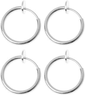 JAGETRADE 4Pcs Clip on Fake Earrings Hoop Non-pierced Nose Rings Lip Ear Clip Body Jewelry