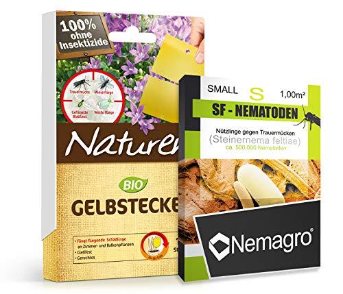 KOMBIPACK gegen Trauermücken - NEMAGRO® SF-Nematoden S + Naturen® Gelbtafeln - Für 5 Pflanzen