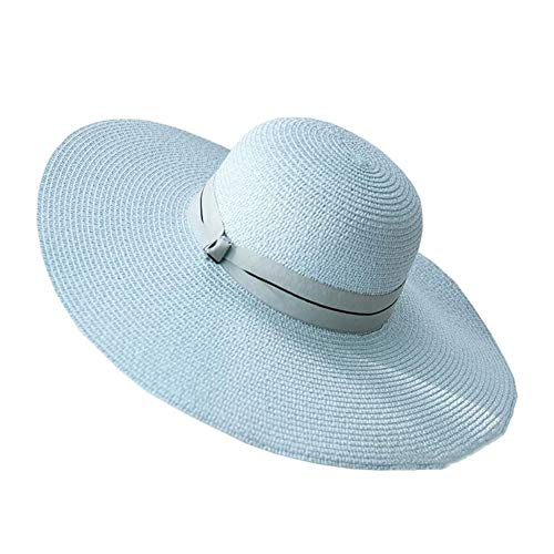 ZX-cappello Da Sole Donne Anti-UV Cappello di Paglia Cappello Estivo da Spiaggia Protezione UV Pieghevole Tesa Larga (Colore : Azzurro, Dimensioni : 56-58cm)