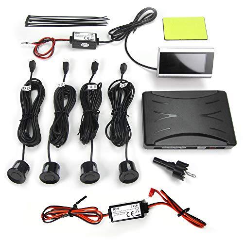 JOM 7118 Rückfahrwarner, PDC, Parkhilfe, Einparkhilfe mit 4 Sensoren und flachem LCD Monitor, mit abschaltbarer akustischer Warnung, Funkübertragung, Wireless