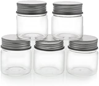 Mini Glass Storage Jar with Lid 5-Pieces Set - DIY and Art Craft Tiny Jar, Ideal for Artists Paint, Small Object Accessories Storage, Party Wedding Decoration - Decorative Mini Jars, Clear, 1.7 Ounce