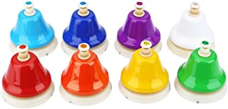 Dilwe Conjunto de Campanas de Mano, 8 Notas Coloridas Campanas Instrumentos de Percusi¨®n de Aprendizaje Musical Juguetes para Ni?os