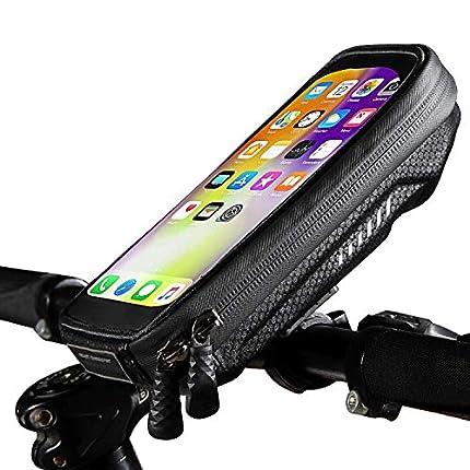 """Soporte Movil Bicicleta Impermeable Universal Soporte Moto Movil con Cubierta de Lluvia Soporte Movil Manillar Bolsa Telefono Bicicleta para iPhone 11/XS Max/Samsung S9/S10/Huawei P30 Hasta 6.8"""" Negro"""