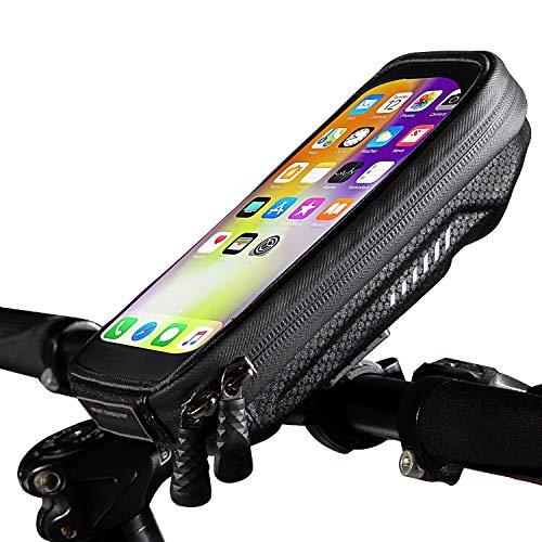 Soporte Movil Bicicleta Impermeable Universal Soporte Moto Movil con Cubierta de Lluvia Soporte Movil Manillar Bolsa Telefono Bicicleta para iPhone 11/XS Max/Samsung S9/S10/Huawei P30 Hasta 6.8' Negro