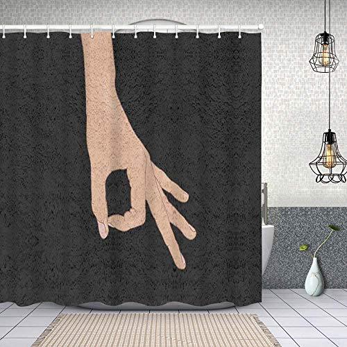 Cortinas de Ducha, Juego de Dedos Circulares para baño/Bañera Antimoho Impermeables Antibacteriano a Prueba de Polvo y fácil de Limpiar con 12 Ganchos 152 cmx183 cm