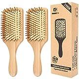 ヘアブラシ 2本セット パドルブラシ コーム 100%天然素材竹製 ヘアケア 頭皮マッサージ 美髪ケア クッションブラシ ナチュラル 血行促進 薄毛改善 静電気防止(パドル型)
