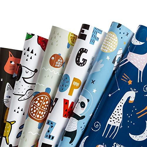 WRAPAHOLIC Wrapping Paper Sheet - Cute Animal Design for Birthday, Holiday, Party, Baby Shower - 1 Roll Contains 6 Sheets - 17.5 inch X 30 inch Per Sheet