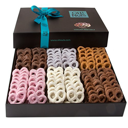 Oh! Nuts Chocolate Covered Pretzels Gift Basket, 6 Variety Assorted Flavored Set of Yogurt, Milk & Dark Gift Box, Send for Christmas Holiday Valentine's or Mother's Day a Sweet Treat for Men & Women