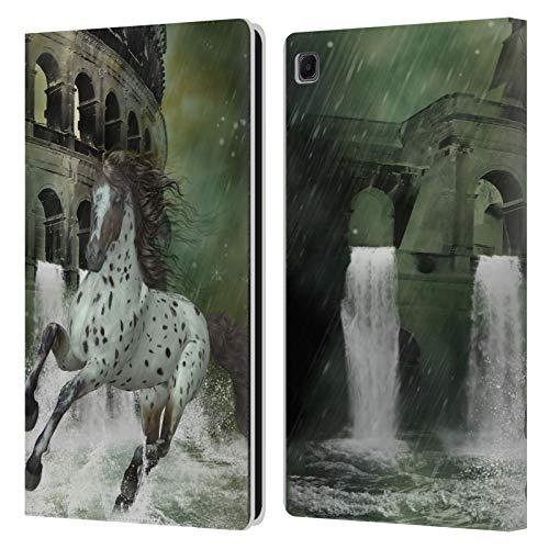 Head Case Designs Offizielle Simone Gatterwe La Fuga Cavalli Schutzhülle aus Leder für Samsung Galaxy Tab S6 Lite