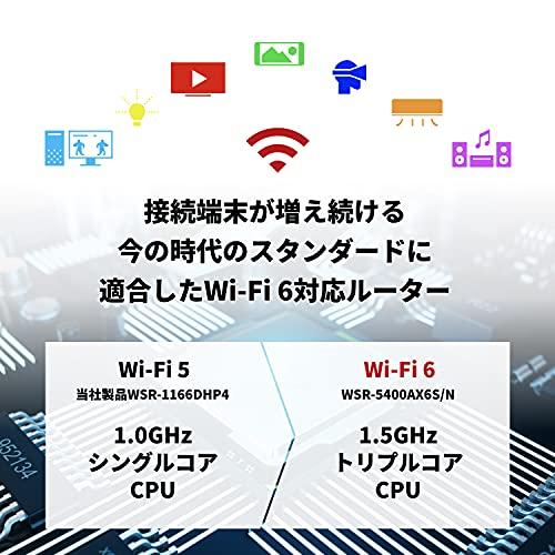 バッファローWiFiルーター無線LAN最新規格Wi-Fi611ax/11acAX54004803+574Mbps日本メーカー【iPhone12/11/iPhoneSE(第二世代)/PS5メーカー動作確認済み】WSR-5400AX6S/NMB