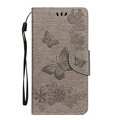 LAGUI Hülle Geeignet für Wiko Jerry 3, Schönes Schmetterlingen & Blumenranken Brieftasche Schutzhülle Mit Kartenfächern & Magnetische Verschluss, grau