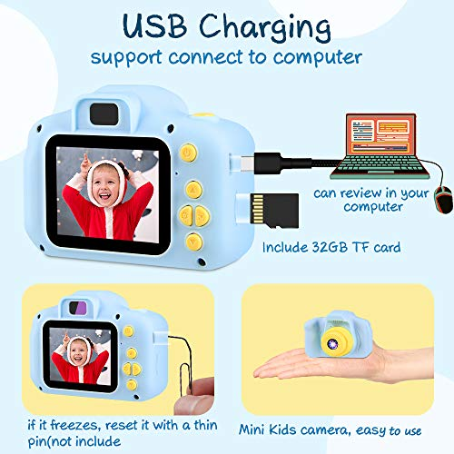 VATENIC Kids Toys for 3-10 Year Old Boys Girls, Kids Camera 1080P 2inch HD Children Digital Cameras for Girls Best Birthday Toys,Toddler Camera Gift for 3-9 Year Old Boy (with 32G SD Card) (Blue)