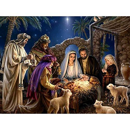 Juego de pintura de diamante 5D para adultos, manualidades, punto de cruz, bordado, Jesús amoroso, decoración de pared, manualidades de 30,5 x 40,6 cm