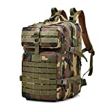 Tactical Backpack Military Waterproof Nylon Assault Pack Army Rucksack 40L (Forest Camo)