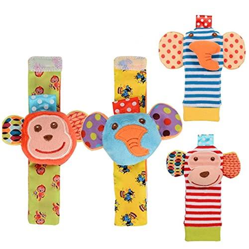 Rattle bebé de juguete muñeca de Bell Buscador de calcetines Conjunto de la textura del desarrollo infantil lindo suave de animales recién nacidos para Niñas Niños 4PCS, pulsera de bebé del traqueteo