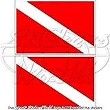 Tauchen Flagge Diver Dive Down 7,6cm (75mm) Bumper Sticker, Aufkleber Vinyl X2