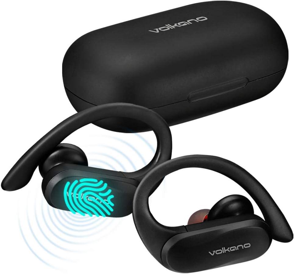 Volkano Wireless Sport Earbuds with Ear Hooks, 24-Hr Playtime Bluetooth 5.0 Earphones TWS Sweatproof Headset, Wireless Earphones w/Mic & Charging Case, Ideal for Running Workout - Sprint 2.0 Series