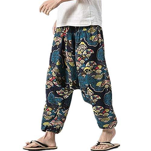 PERDONTOO Men Women Cotton Harem Yoga Baggy Genie Boho Pants (36, Style 3)