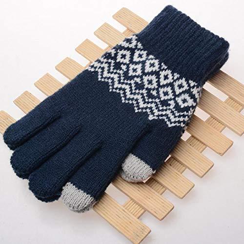 GUANAI Gant Gants d'hiver au Toucher tactiles Kitteden Mittens Nouveaux Gants pour Hommes et Femmes géométriques Anti-Rides Touch Blue A