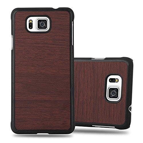 Cadorabo Funda para Samsung Galaxy Alpha en Woody CAFÉ - Cubierta Protecciónde Plástico Duro Super Delgada e Inflexible con Antichoque - Case Cover Carcasa Protectora Ligera